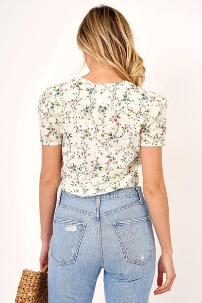 'rachel' floral wrap top - olive + pepper