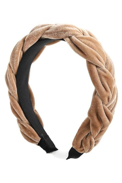 velvet braided headband - olive + pepper