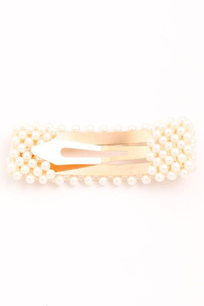 oversized faux pearl hair clip - olive + pepper