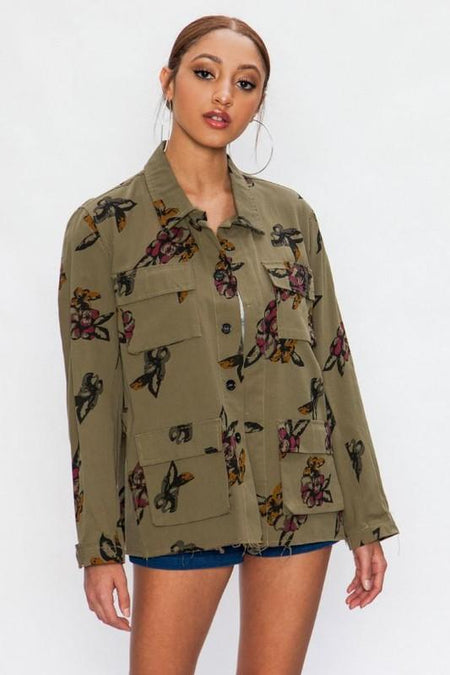 'harlow' embroidered army jacket