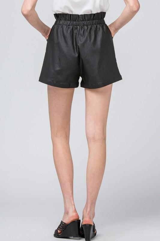 faux leather high waist short | olive + pepper