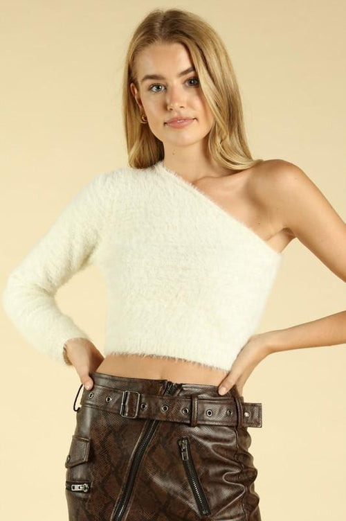 one shoulder crop sweater | olive + pepper