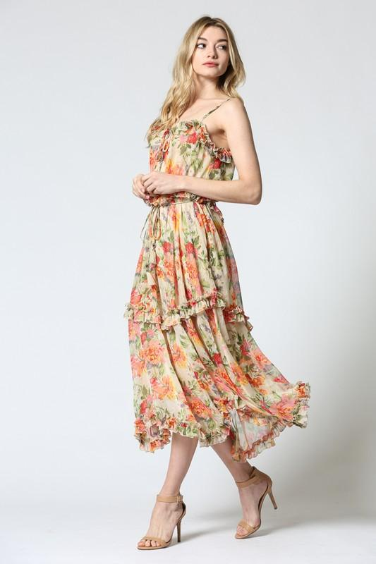 'jessica' tiered floral midi - olive + pepper
