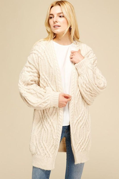 chunky cable knit cardigan | olive + pepper
