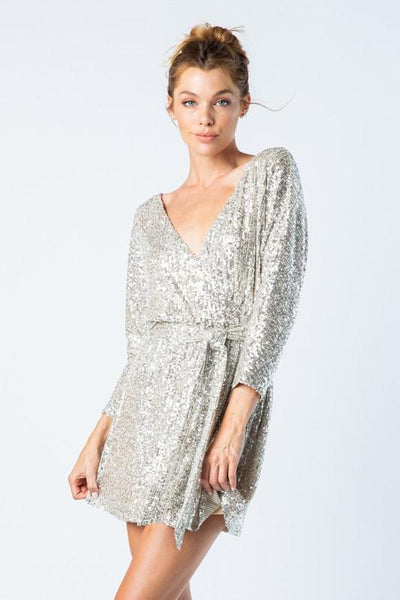 'audrey' neck sequin mini dress
