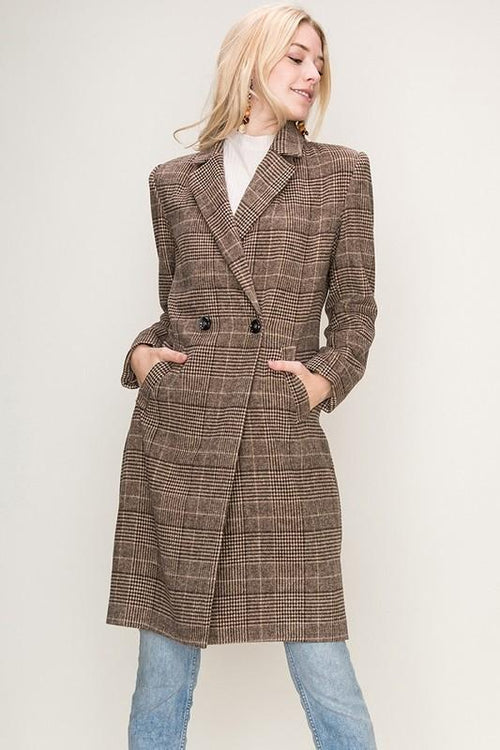 'georgia' plaid boyfriend blazer coat - olive + pepper