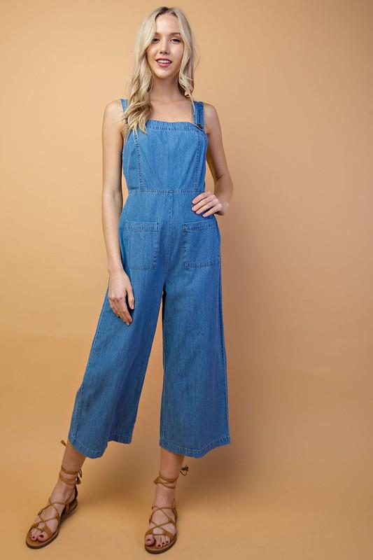 'olivia' crop denim overall - olive + pepper