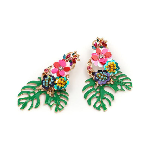 tropical drop earring - olive + pepper