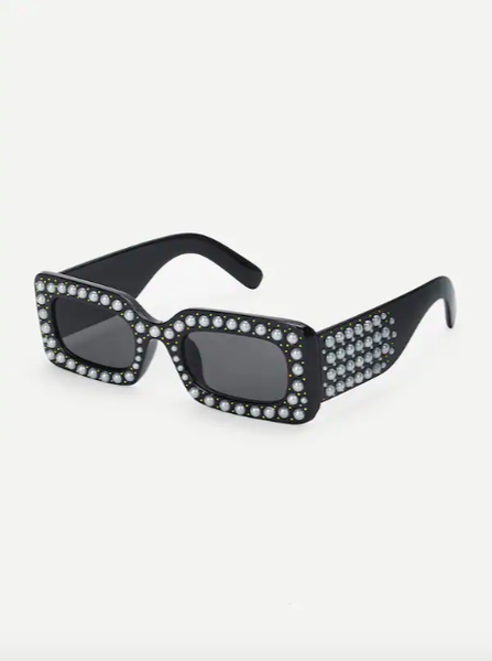 pearl studded rectangle sunnies - olive + pepper