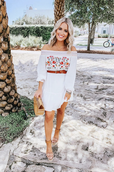 'kellen' smocked off the shoulder embroidered mini dress