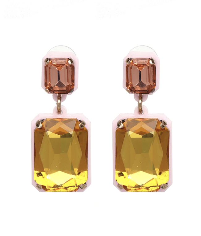 square crystal drop earring | olive + pepper