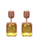 square crystal drop earring - olive + pepper