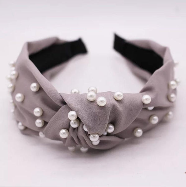faux pearl knot headband - olive + pepper