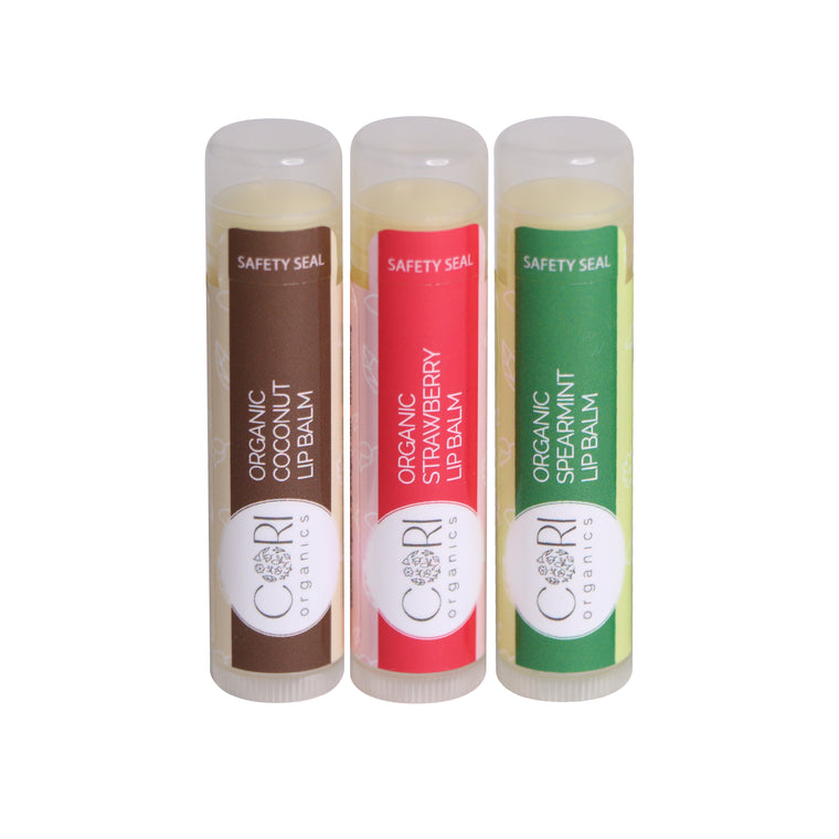 USDA Organic Lip Balms l Coconut, Spearmint, Strawberry.