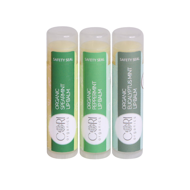 USDA Organic Lip Balms l Peppermint, Spearmint, Eucalyptus.