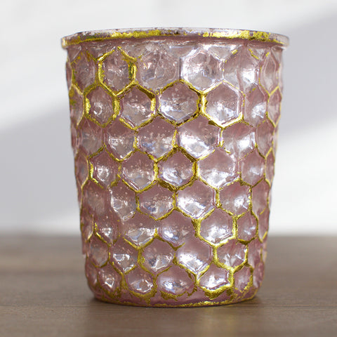 Lyra Vase - metallic pink and gold glitter | Gypsy Petal Home Decor