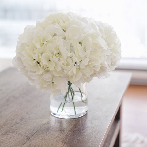 the Angela floral arrangement. White hydrangea flowers by Gypsy Petal
