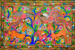 Modern Indian Folk Art Black Light Painting