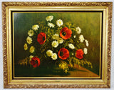 Vintage Large Scale Framed Hoffman Floral Still Life Print on Board