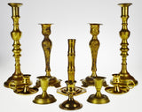 Vintage Brass Candlesticks - Group of 10