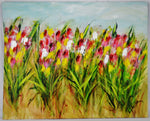 Large Scale Impressionist Impasto Oil Painting Field of Tulips - Artist Signed