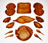 Vintage Assorted Monkey Pod Wood Trays and Spoons - 13 Piece Set