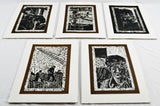 Vintage Elaine Hudson Hamilton Artist Proof Woodcut Etchings - Group of 5