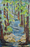 Vintage Framed Path in Forest Impasto Oil on Canvas - Artist Signed