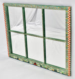 Vintage Country Hand Painted Window Pane Wall Mirror