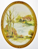 Vintage Oval Framed F. Massa Landscape Scene Watercolor Print