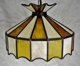 Vintage Tiffany Style Leaded Glass Pendant Light Chandelier
