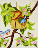 Vintage Handmade Birdhouse and Bluebirds Embroidery