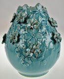 Vintage Floral Applique Glazed Ceramic Pottery Vase
