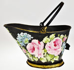 Vintage Hand Painted Floral Design Coal Scuttle - Artist Signed