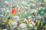 Vintage Framed Oil on Canvas Painting of Children Playing in Dandelion Field - Signed