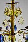 Vintage Italian Tole Gold Gilt Candelabra with Multi - Colored Cut Glass Prisms