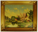 Vintage Gilt Framed Landscape Print on Textured Board