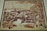 Vintage Framed Theodore Wahl Signed Lithograph of Central Park