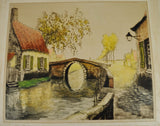 1933 Sidney Lucas European Village Scene Aquatint Etching Signed De Beauvais