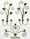 Vintage Tole Style Candle Wall Sconces & Candle Holder - Set of 3