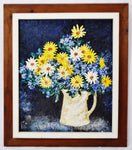 Vintage Rustic Framed Floral Still Life Impasto Oil on Board - Artist Signed