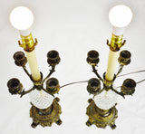 Vintage Hollywood Regency Candelabra Table Lamps - A Pair