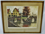 Vintage Artist Proof Color Etching European Landscape Scene - Artist Signed