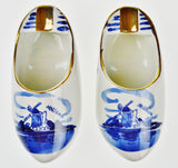 Delfts Blauw Holland Porcelain Hand Painted Shoe Ashtrays - A Pair
