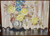 Art Deco Zara Ellwood Framed Gouache Watercolor on Board Yellow Roses