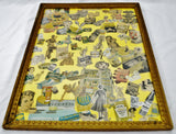 Mid Century Framed Folk Art Collage Kitchen Decor
