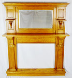 Antique 2 Piece Oak Fireplace Mantel Surround with Mirror