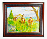 Framed Oil on Board Western Old Timer Frontiersman Painting - Signed