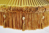 Vintage Large Scale Pleated Fabric w/ Fringe Decor Swag Pendant Light