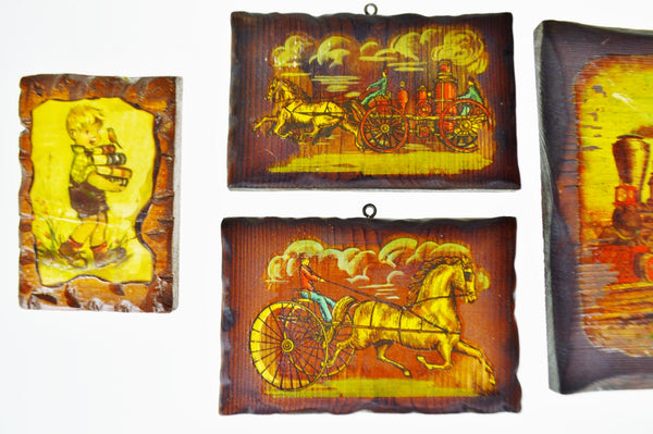 Vintage Carved Wood Decoupage Wall Art Plaques - Group of 8 ...